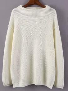White Round Neck Loose Split Sweater