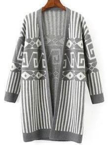 Grey White Geometric Print Striped Sweater Coat