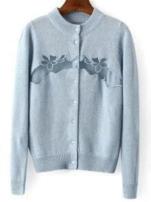 Sky Blue Long Sleeve Mesh Embroidered Sweater Coat