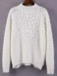 White Mock Neck Applique Loose Sweater