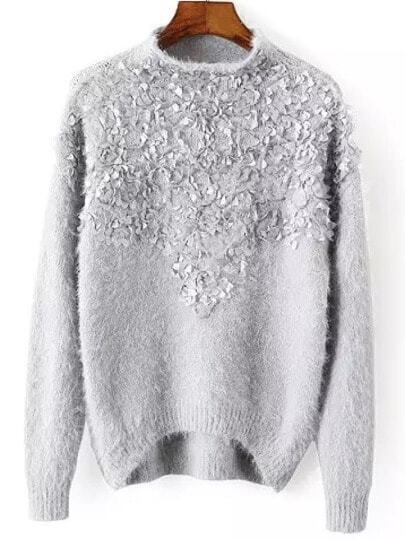 Grey Mock Neck Applique Loose Sweater
