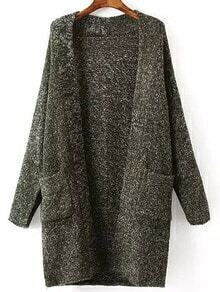Dark Green Long Sleeve Pockets Sweater Coat