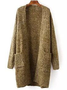 Khaki Long Sleeve Pockets Sweater Coat