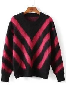 Black Red Round Neck Wave Pattern Sweater