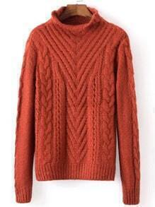 Red Mock Neck Cable Knit Loose Sweater