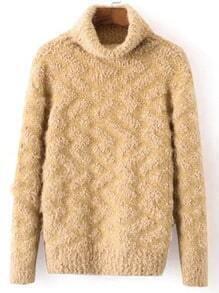 Khaki High Neck Long Sleeve Loose Sweater