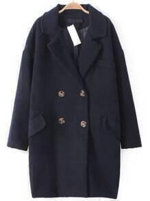 Navy Lapel Double Breasted Woolen Coat