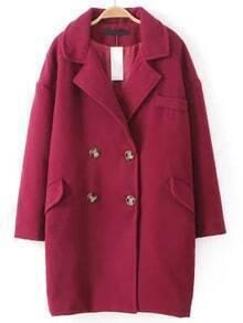 Burgundy Lapel Double Breasted Woolen Coat