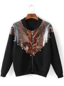 Black Long Sleeve Sequined Crop Jacket
