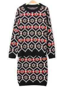 Colour Round Neck Geometric Print Top With Skirt