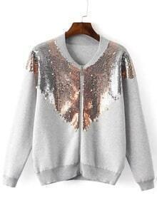 Grey Long Sleeve Sequined Crop Jacket