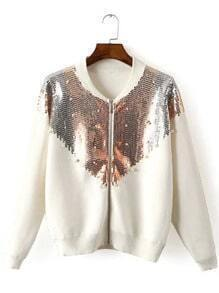 White Long Sleeve Sequined Crop Jacket