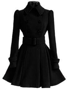 Black Lapel Double Breasted Belt Coat