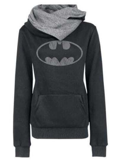 Black Hooded Cowl Neck Pockets Sweatshirt