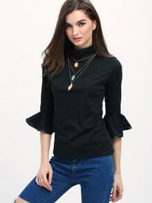 Black High Neck Ruffle Sleeve Slim T-Shirt