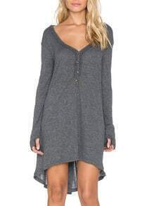 Grey V Neck Buttons High Low Dress