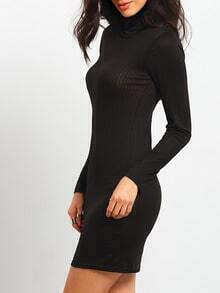 Black High Neck Slim Sweater Dress