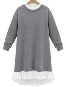 Grey Frill Neck Loose Sweatshirt Dress