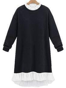 Black Frill Neck Loose Sweatshirt Dress