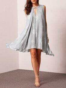 Blue Sleeveless Hollow Geometric Print Loose Dress