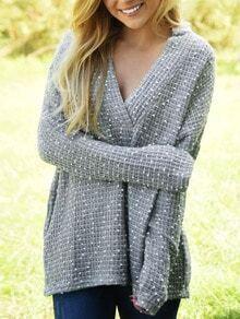 Grey V Neck Long Sleeve Loose Sweater