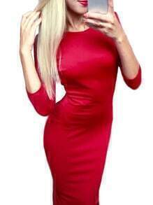Red Round Neck Backless Slim Pencil Dress