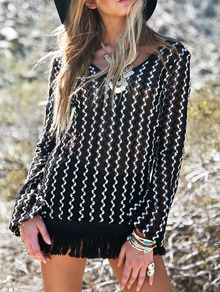 Black White V Neck Wave Pattern Fringe Dress