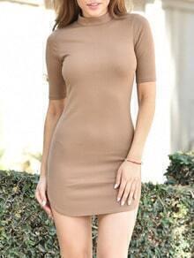 Khaki Stand Collar Zipper Bodycon Dress