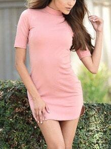 Pink Stand Collar Zipper Bodycon Dress