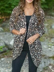 Leopard Long Sleeve Chiffon Coat