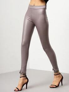 Grey Skinny Lace PU Leggings