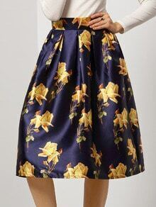 Navy Yellow Floral Flare Skirt