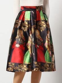 Colour Portrait Print Flare Skirt