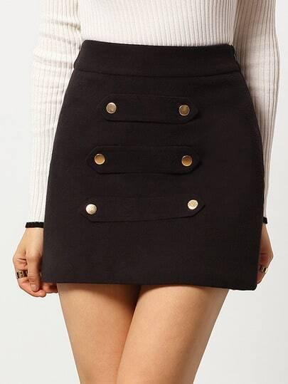 Black Slim Buttons Woolen Skirt