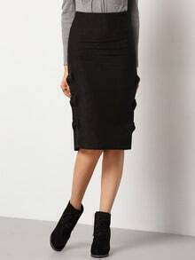Black Slim Bow Embellished Skirt