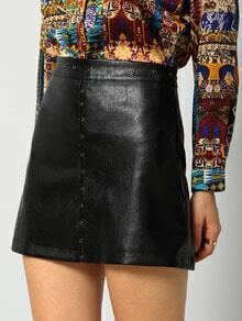 Black Hollow Zipper PU Skirt