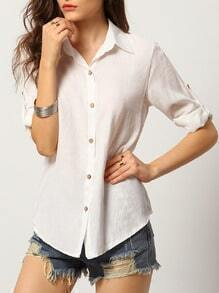 White Lapel Buttons Loose Blouse