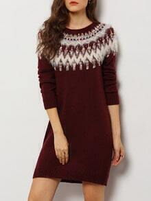 Burgundy Round Neck Tribal Print Sweater Dress