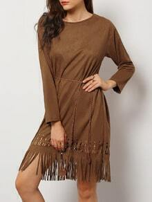 Khaki Round Neck Hollow Tassel Dress