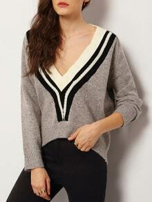 Grey V Neck Striped Crop Sweater