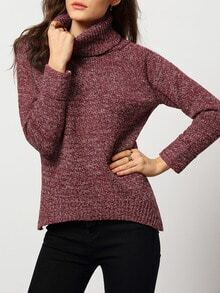 Red High Neck Split Loose Sweater