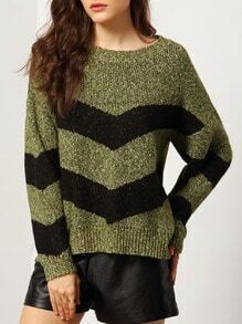 Green Black Round Neck Wave Pattern Sweater
