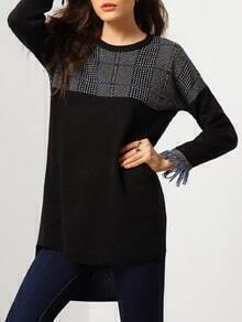 Black Round Neck Plaid Fringe Dip Hem Knitwear