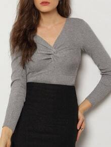 Grey V Neck Ruched Crop Knitwear