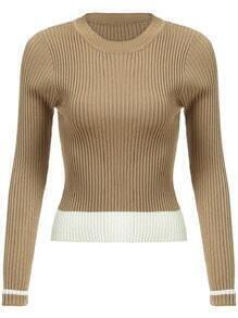 Khaki Round Neck Slim Crop Knitwear