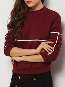Burgundy Round Neck Long Sleeve Crop Sweatshirt