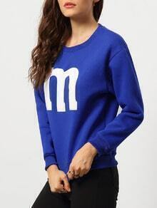 Blue Round Neck M Print Loose Sweatshirt