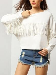 White Round Neck Embroidered Tassel Sweatshirt