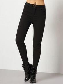 Black Slim Buttons Pant