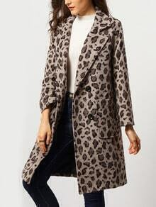 Grey Notch Lapel Leopard Pockets Coat
